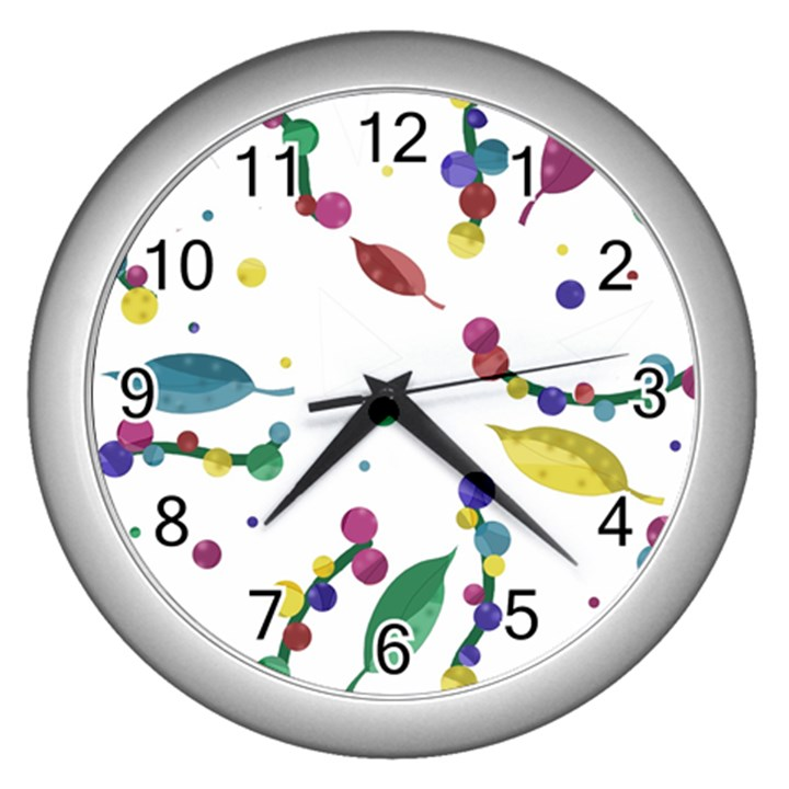 Abstract floral design Wall Clocks (Silver)
