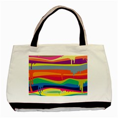 Colorfull Rainbow Basic Tote Bag (two Sides)