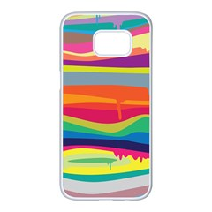 Colorfull Rainbow Samsung Galaxy S7 Edge White Seamless Case