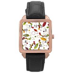 Adorable Floral Design Rose Gold Leather Watch