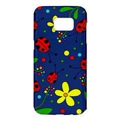 Ladybugs - blue Samsung Galaxy S7 Edge Hardshell Case