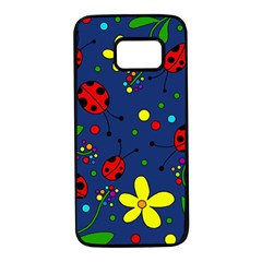 Ladybugs - blue Samsung Galaxy S7 Black Seamless Case