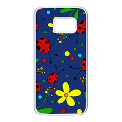Ladybugs - blue Samsung Galaxy S7 White Seamless Case