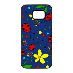 Ladybugs - blue Samsung Galaxy S7 edge Black Seamless Case