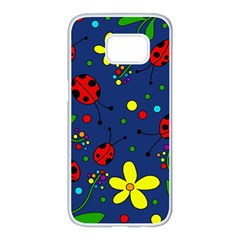 Ladybugs - blue Samsung Galaxy S7 edge White Seamless Case