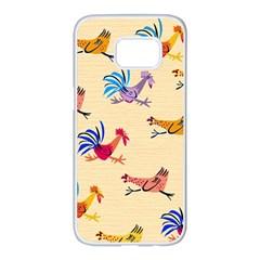 Chicken Samsung Galaxy S7 Edge White Seamless Case