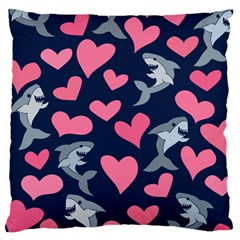 Shark Lovers Large Cushion Case (two Sides)