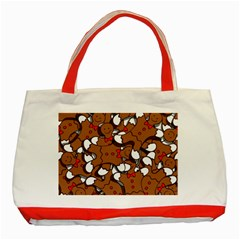Christmas Candy Seamless Pattern Vectors Classic Tote Bag (red)