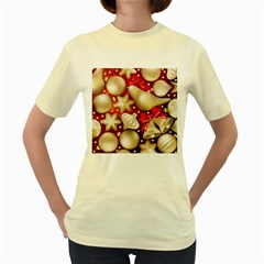 Christmas Baubles Seamless Pattern Vector Material Women s Yellow T Shirt