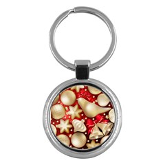 Christmas Baubles Seamless Pattern Vector Material Key Chains (round)