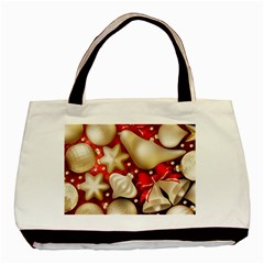 Christmas Baubles Seamless Pattern Vector Material Basic Tote Bag
