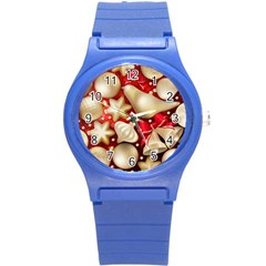 Christmas Baubles Seamless Pattern Vector Material Round Plastic Sport Watch (s)
