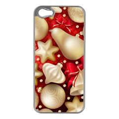 Christmas Baubles Seamless Pattern Vector Material Apple Iphone 5 Case (silver)