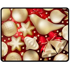 Christmas Baubles Seamless Pattern Vector Material Double Sided Fleece Blanket (medium)
