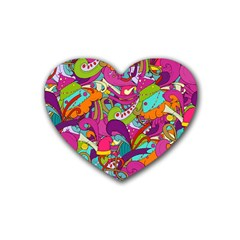 Christmas Elements With Doodle Seamless Pattern Vector Rubber Coaster (heart)