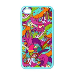 Christmas Elements With Doodle Seamless Pattern Vector Apple Iphone 4 Case (color)