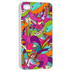 Christmas Elements With Doodle Seamless Pattern Vector Apple Iphone 4/4s Seamless Case (white)