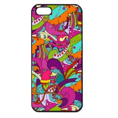 Christmas Elements With Doodle Seamless Pattern Vector Apple Iphone 5 Seamless Case (black)