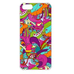 Christmas Elements With Doodle Seamless Pattern Vector Apple Iphone 5 Seamless Case (white)