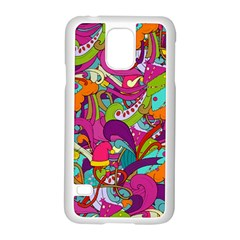 Christmas Elements With Doodle Seamless Pattern Vector Samsung Galaxy S5 Case (white)