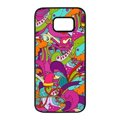 Christmas Elements With Doodle Seamless Pattern Vector Samsung Galaxy S7 Edge Black Seamless Case