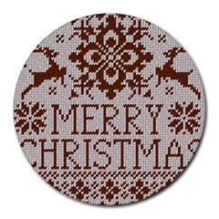 Christmas Elements With Knitted Pattern Vector Round Mousepads