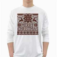 Christmas Elements With Knitted Pattern Vector White Long Sleeve T Shirts