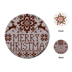 Christmas Elements With Knitted Pattern Vector Playing Cards (round)