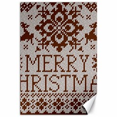 Christmas Elements With Knitted Pattern Vector Canvas 12  X 18
