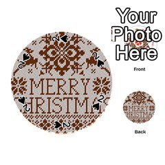 Christmas Elements With Knitted Pattern Vector Playing Cards 54 (Round)