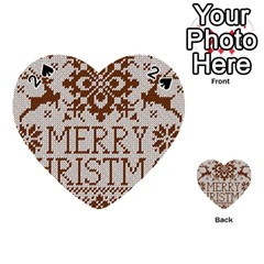 Christmas Elements With Knitted Pattern Vector Playing Cards 54 (heart)