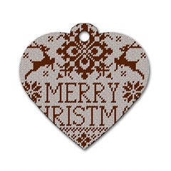 Christmas Elements With Knitted Pattern Vector Dog Tag Heart (two Sides)