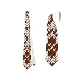 Christmas Elements With Knitted Pattern Vector Neckties (one Side)