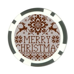 Christmas Elements With Knitted Pattern Vector Poker Chip Card Guards