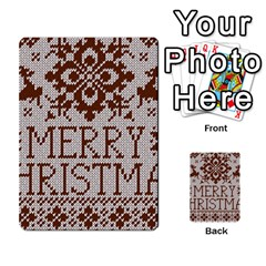 Christmas Elements With Knitted Pattern Vector Multi Purpose Cards (rectangle)