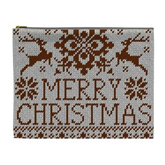 Christmas Elements With Knitted Pattern Vector Cosmetic Bag (xl)