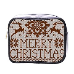 Christmas Elements With Knitted Pattern Vector Mini Toiletries Bags