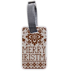 Christmas Elements With Knitted Pattern Vector Luggage Tags (two Sides)