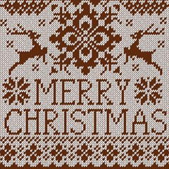 Christmas Elements With Knitted Pattern Vector Magic Photo Cubes