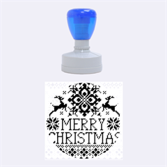 Christmas Elements With Knitted Pattern Vector Rubber Round Stamps (medium)