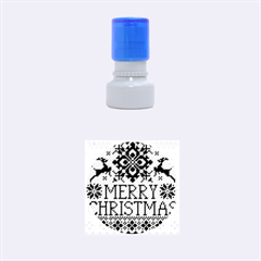 Christmas Elements With Knitted Pattern Vector Rubber Round Stamps (small)