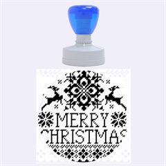 Christmas Elements With Knitted Pattern Vector Rubber Round Stamps (Large)