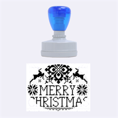 Christmas Elements With Knitted Pattern Vector Rubber Oval Stamps