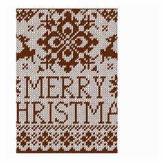 Christmas Elements With Knitted Pattern Vector Large Garden Flag (two Sides)