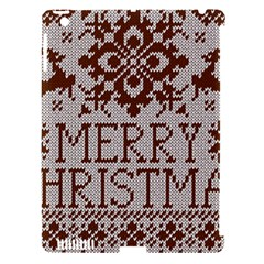 Christmas Elements With Knitted Pattern Vector Apple Ipad 3/4 Hardshell Case (compatible With Smart Cover)