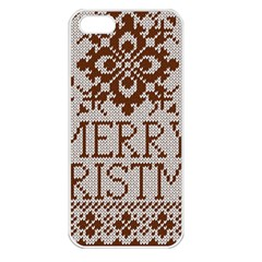 Christmas Elements With Knitted Pattern Vector Apple Iphone 5 Seamless Case (white)