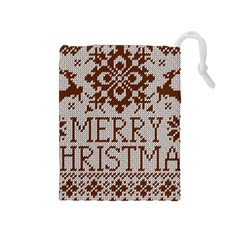 Christmas Elements With Knitted Pattern Vector Drawstring Pouches (medium)