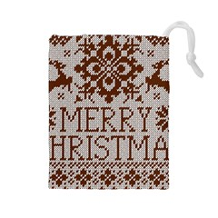 Christmas Elements With Knitted Pattern Vector Drawstring Pouches (large)