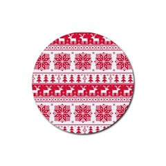 Christmas Patterns Rubber Coaster (round)