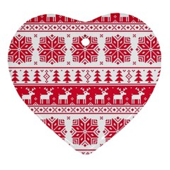 Christmas Patterns Heart Ornament (2 Sides)